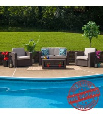 Flash Furniture DAD-SF-112T-CBN-GG 4 Piece Outdoor Faux Rattan Chair, Loveseat and Table Set in Chocolate Brown