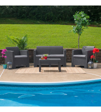 Flash Furniture DAD-SF-112T-DKGY-GG 4 Piece Outdoor Faux Rattan Chair, Loveseat and Table Set in Dark Gray