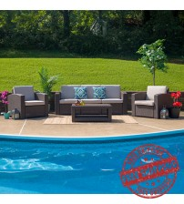 Flash Furniture DAD-SF-113T-CBN-GG 4 Piece Outdoor Faux Rattan Chair, Sofa and Table Set in Chocolate Brown
