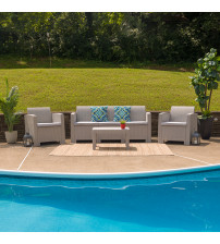 Flash Furniture DAD-SF-113T-CRC-GG 4 Piece Outdoor Faux Rattan Chair, Sofa and Table Set in Light Gray