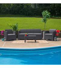 Flash Furniture DAD-SF-113T-DKGY-GG 4 Piece Outdoor Faux Rattan Chair, Sofa and Table Set in Dark Gray