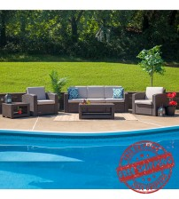 Flash Furniture DAD-SF-113TEE-CBN-GG 5 Piece Outdoor Faux Rattan Chair, Sofa and Table Set in Chocolate Brown