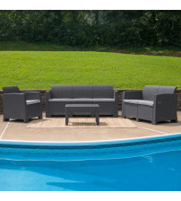 Flash Furniture DAD-SF-123T-DKGY-GG 4 Piece Outdoor Faux Rattan Chair, Loveseat, Sofa and Table Set in Dark Gray