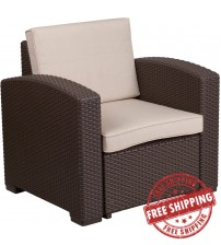 Flash Furniture DAD-SF1-1-GG Chocolate Brown Faux Rattan Chair with All-Weather Beige Cushion