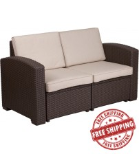 Flash Furniture DAD-SF1-2-GG Chocolate Brown Faux Rattan Loveseat with All-Weather Beige Cushions