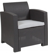Flash Furniture DAD-SF2-1-DKGY-GG Dark Gray Faux Rattan Chair with All-Weather Light Gray Cushion