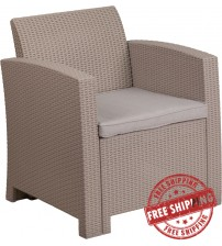 Flash Furniture DAD-SF2-1-GG Light Gray Faux Rattan Chair with All-Weather Light Gray Cushion