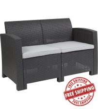 Flash Furniture DAD-SF2-2-DKGY-GG Dark Gray Faux Rattan Loveseat with All-Weather Light Gray Cushions