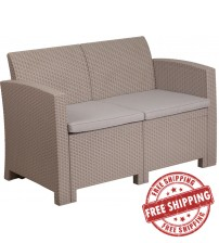 Flash Furniture DAD-SF2-2-GG Light Gray Faux Rattan Loveseat with All-Weather Light Gray Cushions