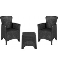 Flash Furniture DAD-SF3-2P-SET-GG Dark Gray Faux Rattan Plastic Chair Set with Matching Side Table