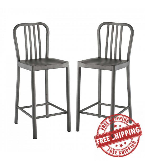 Modway EEI-2954-SLV-SET Clink Counter Stool Set of 2 Silver