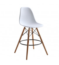 Fine Mod Imports FMI10110-25r-WHITE Woodleg Counter Chair Round Base, White