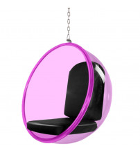 Fine Mod Imports FMI10153-BLACK Bubble Hanging Chair Pink Acrylic, Black