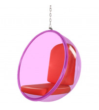 Fine Mod Imports FMI10153-RED Bubble Hanging Chair Pink Acrylic, Red