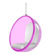 Fine Mod Imports FMI10153-WHITE Bubble Hanging Chair Pink Acrylic, White