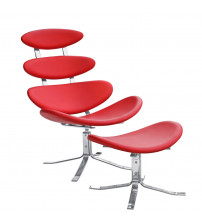 Fine Mod Imports Crono Chair and Ottoman FMI1146, Red