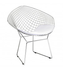 Fine Mod Imports Wire Diamond Chair FMI1157, White
