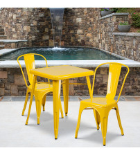 Flash Furniture CH-31330-2-30-YL-GG Metal Table Set in Yellow