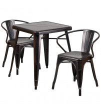 Flash Furniture CH-31330-2-70-BQ-GG Antique Metal Table Set in Black