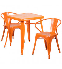 Flash Furniture CH-31330-2-70-OR-GG Metal Table Set in Orange