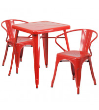 Flash Furniture CH-31330-2-70-RED-GG Metal Table Set in Red