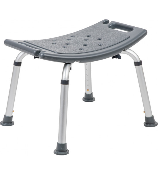 Flash Furniture DC-HY3410L-GRY-GG HERCULES Series Tool-Free and Quick Assembly, 300 Lb. Capacity, Adjustable Gray Bath & Shower Chair with Non-slip Feet