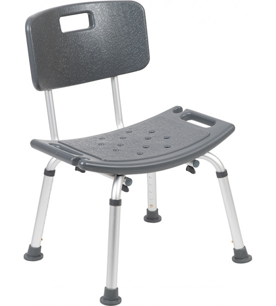 Flash Furniture DC-HY3500L-GRY-GG HERCULES Series Tool-Free and Quick Assembly, 300 Lb. Capacity, Adjustable Gray Bath & Shower Chair with Back