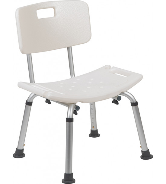 Flash Furniture DC-HY3500L-WH-GG HERCULES Series Tool-Free and Quick Assembly, 300 Lb. Capacity, Adjustable White Bath & Shower Chair with Back