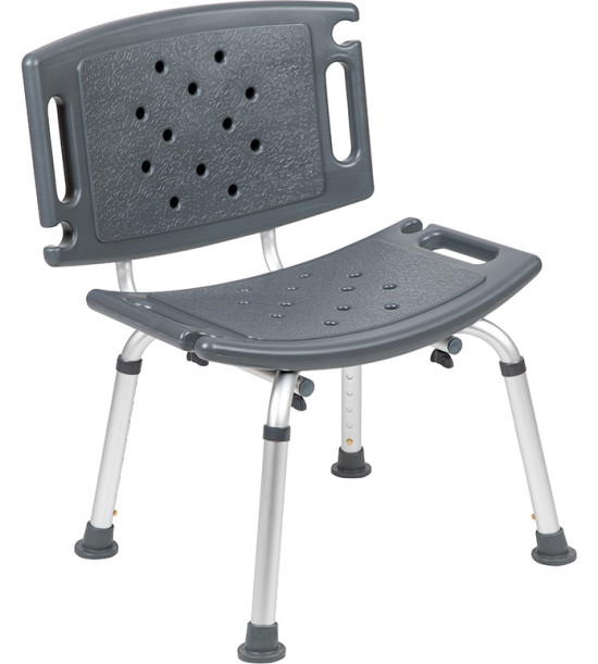 Flash Furniture DC-HY3501L-GRY-GG HERCULES Series Tool-Free and Quick Assembly, 300 Lb. Capacity, Adjustable Gray Bath & Shower Chair with Extra Large Back