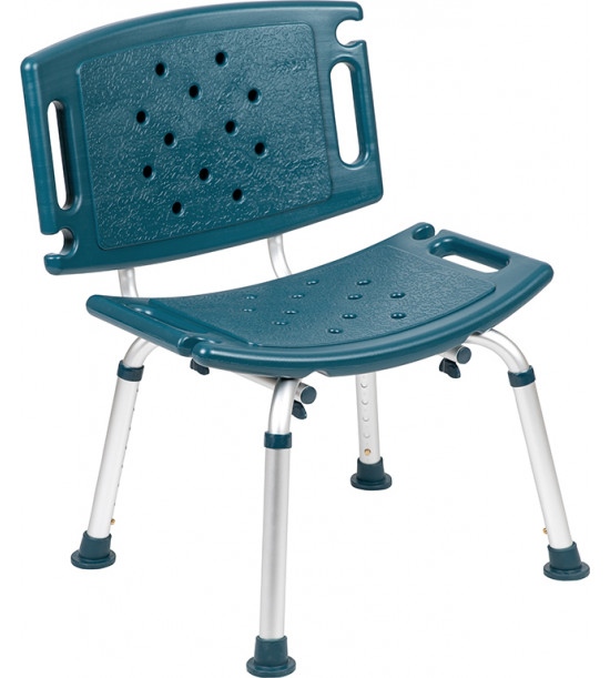 Flash Furniture DC-HY3501L-NV-GG HERCULES Series Tool-Free and Quick Assembly, 300 Lb. Capacity, Adjustable Navy Bath & Shower Chair with Extra Large Back