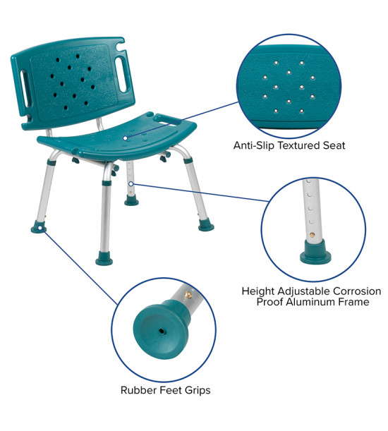 Flash Furniture DC-HY3501L-TL-GG HERCULES Series Tool-Free and Quick Assembly, 300 Lb. Capacity, Adjustable Teal Bath & Shower Chair with Extra Large Back