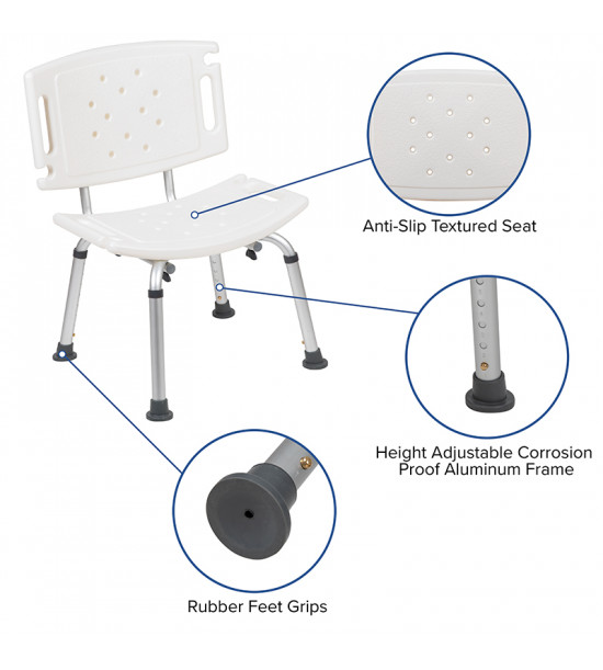 Flash Furniture DC-HY3501L-WH-GG HERCULES Series Tool-Free and Quick Assembly, 300 Lb. Capacity, Adjustable White Bath & Shower Chair with Extra Large Back