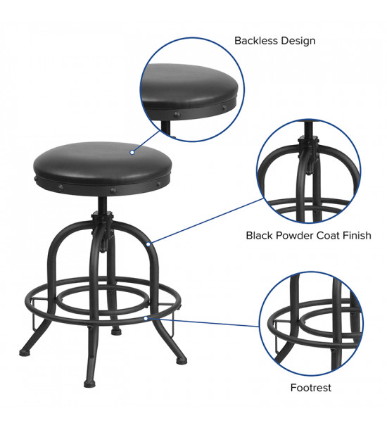"""Flash Furniture ET-BR542-224-GG 24"""" Counter Height Stool with Swivel Lift Black Leather Seat"""
