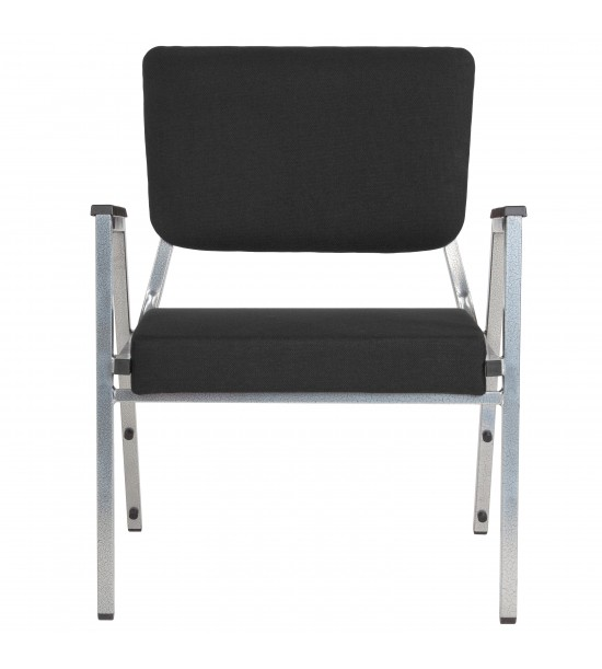 Flash Furniture XU-DG-60443-670-2-BK-GG HERCULES Series 1500 lb. Rated Black Antimicrobial Fabric Bariatric Medical Reception Arm Chair with 3/4 Panel Back