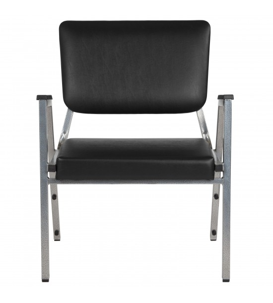 Flash Furniture XU-DG-60443-670-2-BV-GG HERCULES Series 1500 lb. Rated Black Antimicrobial Vinyl Bariatric Medical Reception Arm Chair with 3/4 Panel Back