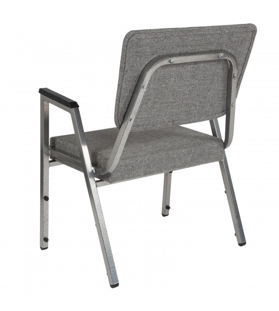 Flash Furniture XU-DG-60443-670-2-GY-GG HERCULES Series 1500 lb. Rated Gray Antimicrobial Fabric Bariatric Medical Reception Arm Chair with 3/4 Panel Back