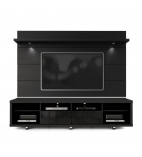 Manhattan Comfort 2-1531382353 Cabrini TV Stand and Floating Wall TV Panel with LED Lights 2.2 in Black