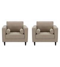 Manhattan Comfort 2-981HL4 Arthur 2-Piece Tan-Brown Tweed Armchairs