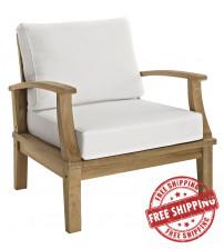 Modway EEI-1143-NAT-WHI-SET Marina Outdoor Patio Teak Armchair Natural White