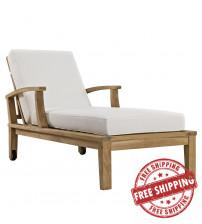Modway EEI-1151-NAT-WHI-SET Marina Outdoor Patio Teak Single Chaise Natural White