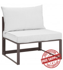 Modway EEI-1520-BRN-WHI Fortuna Outdoor Patio Armless Chair in Brown White