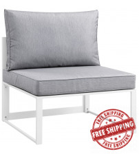 Modway EEI-1520-WHI-GRY Fortuna Outdoor Patio Armless Chair in White Gray