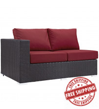 Modway EEI-1842-EXP-RED Convene Outdoor Patio Left Arm Loveseat in Espresso Red