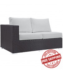 Modway EEI-1842-EXP-WHI Convene Outdoor Patio Left Arm Loveseat in Espresso White