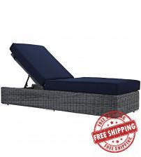 Modway EEI-1876-GRY-NAV Summon Outdoor Patio Sunbrella Chaise Lounge in Canvas Navy
