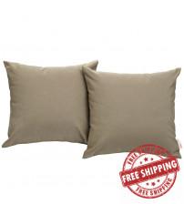 Modway EEI-2001-MOC Convene Two Piece Outdoor Patio Pillow Set in Mocha