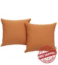 Modway EEI-2001-ORA Convene Two Piece Outdoor Patio Pillow Set in Orange