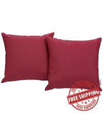 Modway EEI-2001-RED Convene Two Piece Outdoor Patio Pillow Set in Red