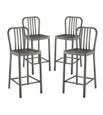 Modway EEI-2964-SLV-SET Clink Counter Stool Set of 4 Silver