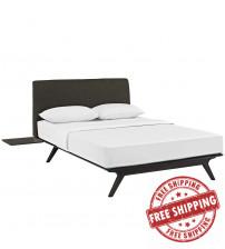 Modway MOD-5257-CAP-BRN-SET Tracy 3 Piece Queen Bedroom Set in Cappuccino Brown